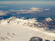 Aerial view of Mt. FitzRoy (El Chalten) and the Patagonian Icefield, taken from a commercial airplane over the Argentinian Andes.