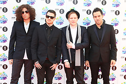 Joe Trohman; Andy Hurley; Patrick Stump; Pete Wentz; Fall Out Boy, BBC Radio 1 Teen Awards, Wembley Arena, London UK, 03 November 2013, Photo by Richard Goldschmidt © Licensed to London News Pictures. Photo credit : Richard Goldschmidt/Piqtured/LNP