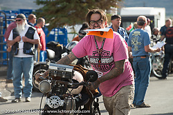 Craig Jackman arrives at the finish on his 1936 HD VLH Twin Carb during stage 12 (299 m) of the Motorcycle Cannonball Cross-Country Endurance Run, which on this day ran from Springville, UT to Elko, NV, USA. Wednesday, September 17, 2014.  Photography ©2014 Michael Lichter.