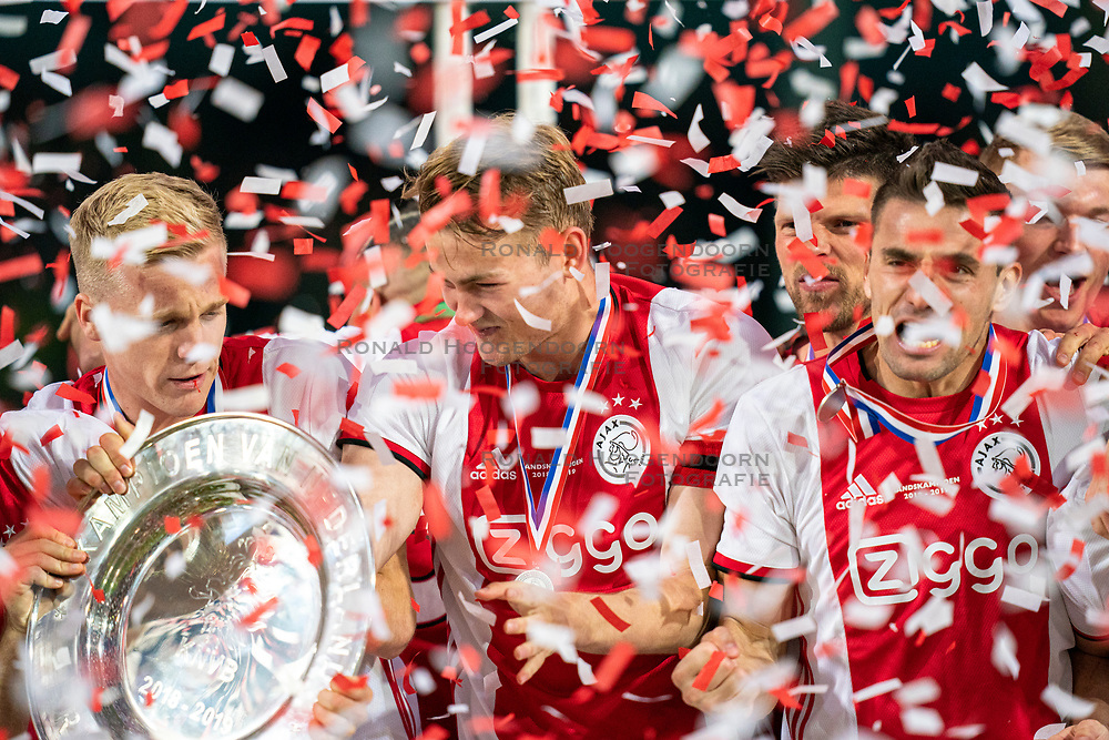 15-05-2019 NED: De Graafschap - Ajax, Doetinchem<br /> Round 34 / It wasn't really exciting anymore, but after the match against De Graafschap (1-4) it is official: Ajax is champion of the Netherlands / Donny van de Beek #6 of Ajax, Matthijs de Ligt #4 of Ajax, Dusan Tadic #10 of Ajax