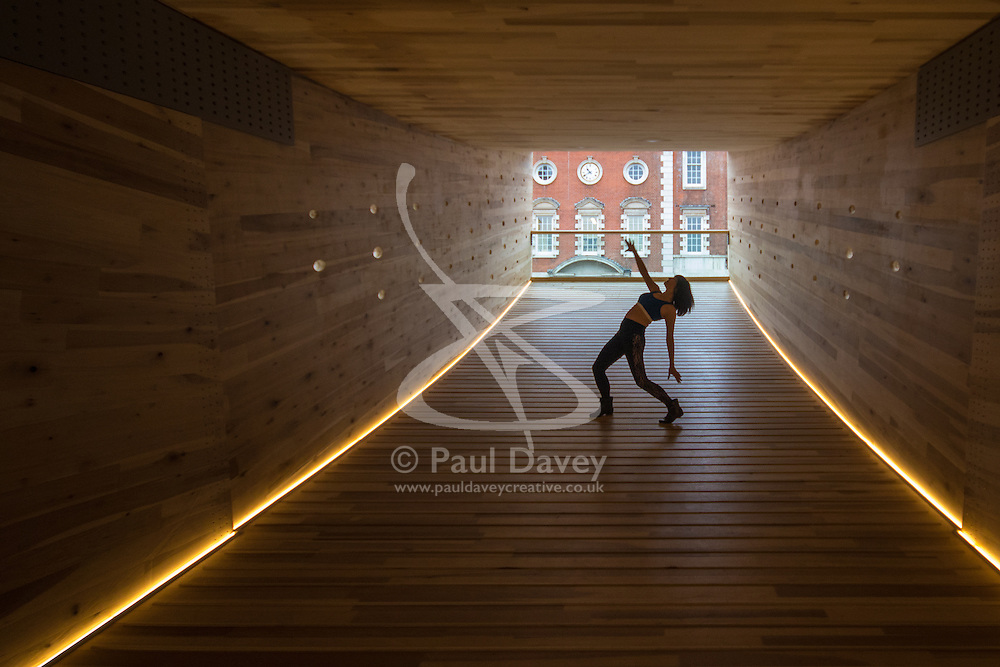 The Smile, an art installation designed by architect Alison Brooks is the world's first 'mega tube made from wood', a landmark project for the London Design Festival, is unveiled at Chelsea Art College in London.  ©Paul Davey<br /> FOR LICENCING CONTACT: Paul Davey +44 (0) 7966 016 296 paul@pauldaveycreative.co.uk