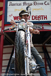 American Motordrome's Wall of Death Rider Dallas Dan on Friday before the grand opening that evening of the Handbuilt Motorcycle Show. Austin, TX. April 10, 2015.  Photography ©2015 Michael Lichter.