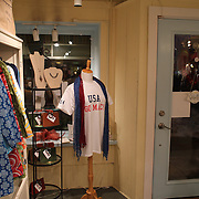 A t-shirt supporting Olympic Freestyle Aerial Skier Mac Bohonnon on display in bella Perlina, Madison, Connecticut, USA. 20th February 2014. Photo Tim Clayton