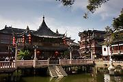 The Huxinting Teahouse, on the ZigZag walkway bridge at Yu Garden Bazaar Market, Shanghai, China