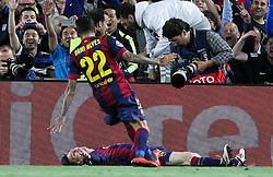 06.05.2015, Camp Nou, Barcelona, ESP, UEFA CL, FC Barcelona vs FC Bayern Muenchen, Halbfinale, Hinspiel, im Bild l-r: Torjubel von Daniel Alves #22 (FC Barcelona) und Lionel Messi #10 (FC Barcelona) // during the UEFA Champions League semi finals 1st Leg match between FC Barcelona and FC Bayern Munich at the Camp Nou in Barcelona, Spain on 2015/05/06. EXPA Pictures © 2015, PhotoCredit: EXPA/ Eibner-Pressefoto/ Kolbert<br /> <br /> *****ATTENTION - OUT of GER*****