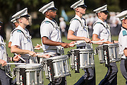 Members of the Citadel Military College corps of cadets marching band during the first Friday Dress Parade on September 6, 2013 in Charleston, South Carolina. The Friday Dress Parade is a tradition at the Citadel going back to 1843.