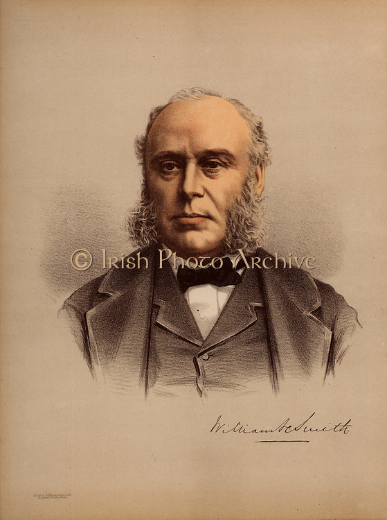 William Henry Smith (1825-1891), son of William Henry Smith (1792-1865), English businessman and politician. He joined his father's newsagent business in 1846 and introduced the selling of books and newspapers at railway stations. Elected Conservative Member of Parliament for Westminster in 1868. In 1877 he was appointed First Lord of the Admiralty and is caricatured as Sir Joseph Porter who, in the Gilbert and Sullivan operetta 'HMS Pinafore', sings 'I always voted at my party's call,/And I never thought for myself at all./I thought so little, they rewarded me/By making me the Ruler of the Queen's Navee.'   During his three years is this position he was known as Pinafore Smith.   From 'The Modern Portrait Gallery' (London, c1880). Tinted lithograph.