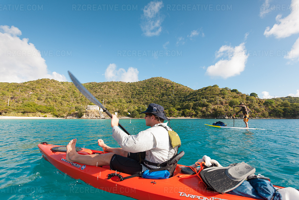 Ted Rutherford and Mark Anders paddling around the island of St. John, USVI. Photo © Robert Zaleski / rzcreative.com<br /> —<br /> To license this image for editorial or commercial use, please contact Robert@rzcreative.com