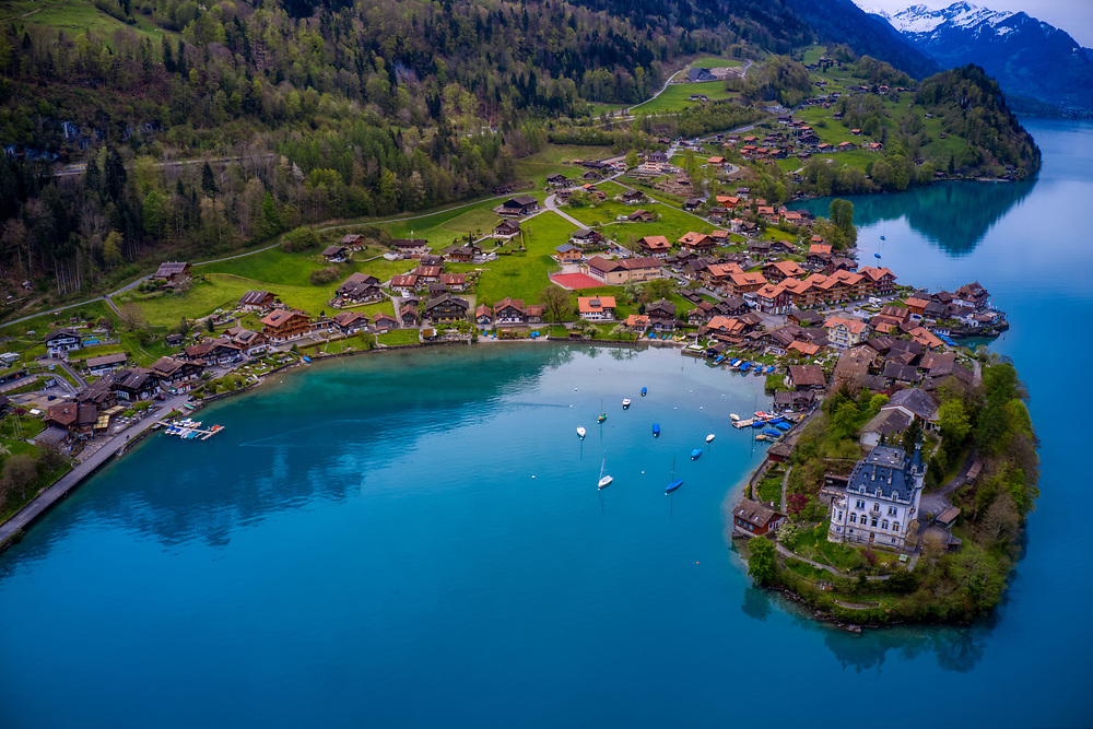 Drone shot of Iseltwald on lake Brienz in Switzerland