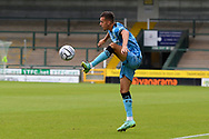 Nathan Baxter (12) of Yeovil Town controls the ball during the Pre-Season Friendly match between Yeovil Town and Forest Green Rovers at Huish Park, Yeovil, England on 31 July 2021.