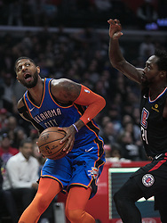 March 8, 2019 - Los Angeles, California, United States of America - Paul George #13 of the Oklahoma Thunder looks for a shot during their NBA game with the Los Angeles Clippers on Friday March 8, 2019 at the Staples Center in Los Angeles, California. Clippers defeat Thunder, 118-110.  JAVIER ROJAS/PI (Credit Image: © Prensa Internacional via ZUMA Wire)
