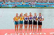 Eton Dorney, Windsor, Great Britain,<br /> <br /> 2012 London Olympic Regatta, Dorney Lake. Eton Rowing Centre, Berkshire[ Rowing].<br /> <br /> Description; Women's Pairs,  Gold Medalist Helen GLOVER and Heather STANNING. GBR W2-   Dorney Lake.<br /> <br /> 12:27:54  Wednesday  01/08/2012<br /> <br /> [Mandatory Credit: Peter Spurrier/Intersport Images]