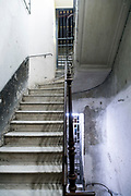 old stairway in reidential building with marble steps Naples Italy