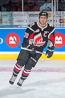 KELOWNA, CANADA - NOVEMBER 9: Brayden Point #19 of Team WHL warms up against the Team Russia on November 9, 2015 during game 1 of the Canada Russia Super Series at Prospera Place in Kelowna, British Columbia, Canada.  (Photo by Marissa Baecker/Western Hockey League)  *** Local Caption *** Brayden Point;
