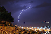 Lightning strikes the Mediterranean Sea. Photographed in Haifa in October