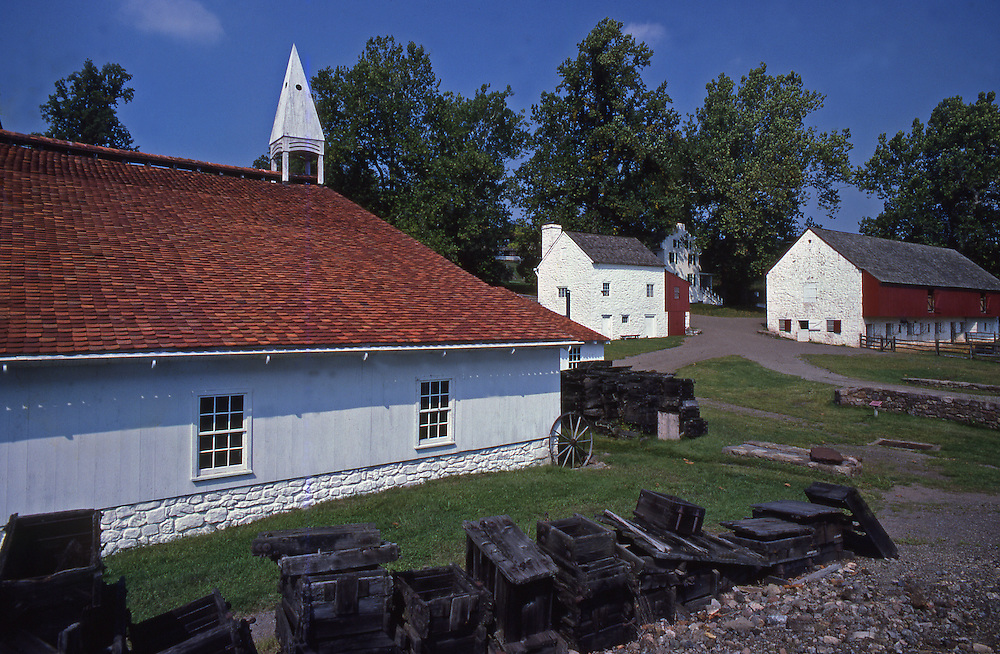 Furnace and casting store (left), Ironmaster's house and barn (right), Hopewell Furnace National Historic site, Berks Co., PA