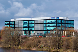 View of Police Scotland headquarters at Clyde Gateway beside River Clyde in Glasgow, Scotland, United Kingdom