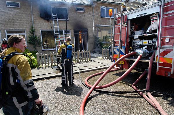 Nederland, Groesbeek, 13-6-2005..Brand meester in een woning aan de Ericastraat. De gasleiding brandt nog in afwachting van afsluiting door NUON. Vrouwen bij de brandweer. Woningbrand, brandveiligheid huishoudelijke apparaten, wasmaschine, wasdroger, schade verzekeraar, verzekering, inboedel, rookschade, rook en vuur, hulpverlening, slachtoffer...Foto: Flip Franssen