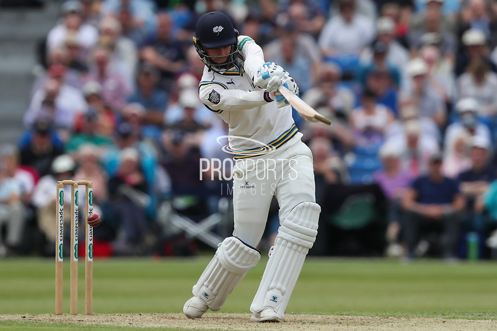 Wicket! Ben Coad of Yorkshire is bowled by Oliver Hannon-Dalby of Warwickshire during the Specsavers County Champ Div 1 match between Yorkshire County Cricket Club and Warwickshire County Cricket Club at York Cricket Club, York, United Kingdom on 18 June 2019.