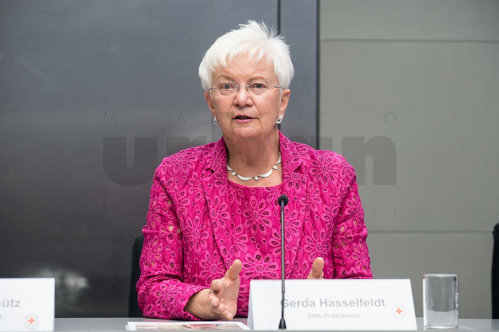 07 MAY 2018, BERLIN/GERMANY:<br /> Gerda Hasselfeldt, Praesidentin DRK, Deutsches Rotes Kreuz, DRK Jahrespressekonferenz, Bundespresseamt<br /> IMAGE: 20180507-01-049