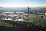 Nederland, Noord-Holland, Amsterdam, 11-12-2013; Amsterdam Sloterdijk, de A5 (Westrandweg) is gebouwd op kolommen en kruist de Basisweg en de spoorlijn richting Zaandam.<br /> A5 (Westrandweg) is built on columns and crosses Basisweg and the railway towards Zaandam.<br /> luchtfoto (toeslag op standard tarieven);<br /> aerial photo (additional fee required);<br /> copyright foto/photo Siebe Swart