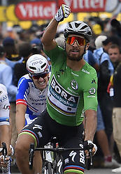 July 20, 2018 - Valence, France - VALENCE, FRANCE - JULY 20 : SAGAN Peter (SVK) of Bora - Hansgrohe wins the stage, KRISTOFF Alexander (NOR) of UAE Team Emirates, DEMARE Arnaud (FRA) of FDJ  during stage 13 of the 105th edition of the 2018 Tour de France cycling race, a stage of 169.5 kms between Bourg d'Oisans and Valence on July 20, 2018 in Valence, France, 20/07/2018 ( Motordriver Kenny Verfaillie - Photo by Jan De Meuleneir / Photonews. (Credit Image: © Panoramic via ZUMA Press)