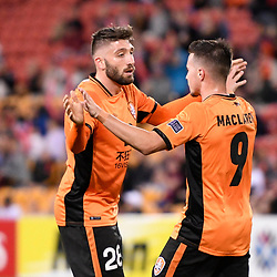BRISBANE, AUSTRALIA - MAY 10: Jamie MacLaren of the Roar celebrates scoring a goal during the Asian Champions League Group Stage match between the Brisbane Roar and Ulsan Hyundai at Suncorp Stadium on May 10, 2017 in Brisbane, Australia. (Photo by Patrick Kearney/Brisbane Roar)