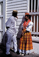 Man and woman dressed with traditional clothes - Martinique (French Département d'outre Mer - DOM) - France<br /> French West Indie - Antilles françaises<br /> Caribbean