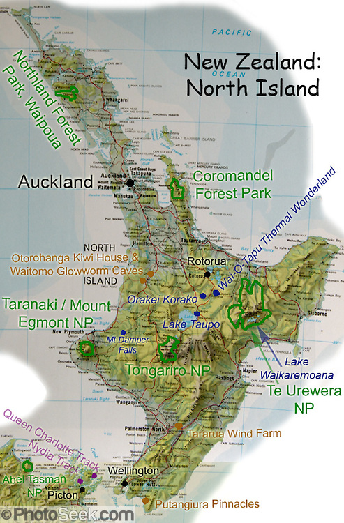 A map of North Island, New Zealand, suggests favorite parks and sights.