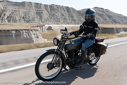 Cris Sommer Simmons riding Effie, her 1915 Harley-Davidson model J in the Motorcycle Cannonball coast to coast vintage run. Stage 9 (294 miles) from Pierre to Sturgis, SD. Sunday September 16, 2018. Photography ©2018 Michael Lichter.