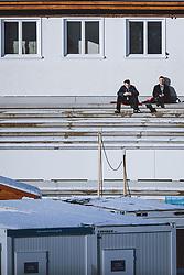 31.12.2020, Olympiaschanze, Garmisch Partenkirchen, GER, FIS Weltcup Skisprung, Vierschanzentournee, Garmisch Partenkirchen, Qualifikation, Herren, im Bild Helfer auf der Tribüne // Volunteers on the stands during qualification jump of men's Four Hills Tournament of FIS Ski Jumping World Cup at the Olympiaschanze in Garmisch Partenkirchen, Germany on 2020/12/31. EXPA Pictures © 2020, PhotoCredit: EXPA/ JFK