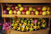 Magoes and star fruit at stand, Hana Coast, Maui, Hawaii<br />
