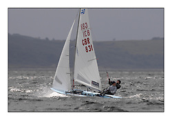 470 Class European Championships Largs - Day 2.Wet and Windy Racing in grey conditions on the Clyde...GBR831, Amy SEABRIGHT, Eilidh MCINTYRE , Hayling Island SC..