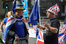 © Licensed to London News Pictures. 15/05/2019. London, UK. Remain campaigner STEVE BRAY is seen remonstrating with a Brexit supporter in Westminster, London. Government has announced that MPs will get another chance to vote on Theresa May's Brexit Bill in early June, after EU parliament elections. Photo credit: Ben Cawthra/LNP