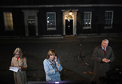 (Left to right) ITV News presenter Mary Nightingale, BBC News presenter Fiona Bruce and Sky News presenter Adam Boulton report from Downing Street, London.