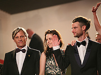 Viggo Mortensen, Kristen Stewart, Tom Sturridge at the On The Road gala screening red carpet at the 65th Cannes Film Festival France. The film is based on the book of the same name by beat writer Jack Kerouak and directed by Walter Salles. Wednesday 23rd May 2012 in Cannes Film Festival, France.