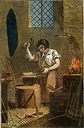 'The Smit in front of his forge, hammering a piece of metal on the anvil. Hand-coloured woodcut from ''The Book of English Trades'', London, 1823.'