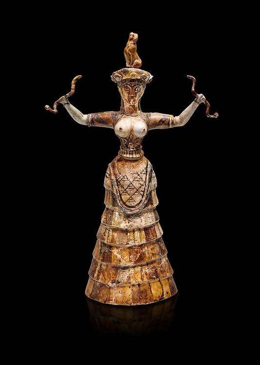 Minoan Snake Goddess statue arms raised holding 2 snakes from the  Knossos-Temple Repositories 1650-1550 BC, Heraklion Archaeological  Museum, black background.<br /> <br /> The snake goddess stauettes are the most important cult objects found in the Knossos Temple Repositories. Dressed in fine garmets with a close fitting bodice with large breats these goddesses represent fertility and the natural world. .<br /> <br /> If you prefer to buy from our ALAMY PHOTO LIBRARY  Collection visit : https://www.alamy.com/portfolio/paul-williams-funkystock/minoan-art-artefacts.html . Type -   Heraklion   - into the LOWER SEARCH WITHIN GALLERY box. Refine search by adding background colour, place, museum etc<br /> <br /> Visit our MINOAN ART PHOTO COLLECTIONS for more photos to download  as wall art prints https://funkystock.photoshelter.com/gallery-collection/Ancient-Minoans-Art-Artefacts-Antiquities-Historic-Places-Pictures-Images-of/C0000ricT2SU_M9w