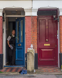 © Licensed to London News Pictures.  23/09/2021. London, UK. Police guard a house in Camberwell, south London after arresting a man who allegedly barricaded himself inside the house. Counter Terror Officers and Fire Ambulances were present at the scene. Photo credit: Marcin Nowak/LNP