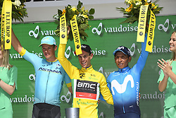 June 17, 2018 - Gommiswald, Suisse - BELLINZONA, SWITZERLAND - JUNE 17 : FUGLSANG Jakob (DEN)  of Astana Pro Team, PORTE Richie (AUS)  of BMC Racing Team, QUINTANA Nairo (COL)  of Movistar Team during stage 9 of the Tour de Suisse cycling race, an individual time trial of 34 kms between Bellinzona and Bellinzona on June 17, 2018 in Bellinzona, Switzerland, 17/06/2018 (Credit Image: © Panoramic via ZUMA Press)