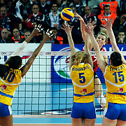Vakifbank GS TT's Mogentale Glinka MALGORZATA (B) during their Women's Volleyball CEV Champions League semi final match at Burhan Felek Arena in Istanbul, Turkey on 20 March 2011. Photo by TURKPIX