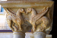 Medieval cloister column capitals  of the Cathedral, Duomo of Cefalu [Cefaú] Sicily .<br /> <br /> If you prefer you can also buy from our ALAMY PHOTO LIBRARY  Collection visit : https://www.alamy.com/portfolio/paul-williams-funkystock/cefalusicily.html<br /> <br /> Visit our BYZANTINE ART PHOTO COLLECTION for more   photos  to download or buy as prints https://funkystock.photoshelter.com/gallery-collection/Roman-Byzantine-Art-Artefacts-Antiquities-Historic-Sites-Pictures-Images-of/C0000lW_87AclrOk .<br /> <br /> Visit our SICILY PHOTO COLLECTIONS for more   photos  to download or buy as prints https://funkystock.photoshelter.com/gallery-collection/2b-Pictures-Images-of-Sicily-Photos-of-Sicilian-Historic-Landmark-Sites/C0000qAkj8TXCzro <br /> <br /> <br /> Visit our MEDIEVAL PHOTO COLLECTIONS for more   photos  to download or buy as prints https://funkystock.photoshelter.com/gallery-collection/Medieval-Middle-Ages-Historic-Places-Arcaeological-Sites-Pictures-Images-of/C0000B5ZA54_WD0s