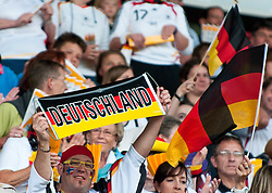16.06.2011, Bruchwegstadion, Mainz, FIFA WOMENS WORLDCUP 2011, Deutschland (GER) vs. Norwegen (NOR), im Bild ein Fan mit Deutschland Banner waehrend eines Vorbereitungsspiels // during a friendly match on 2011/06/16, Bruchwegstadion, Mainz, Germany. + EXPA Pictures © 2011, PhotoCredit: EXPA/ nph/  Roth       ****** out of GER / SWE / CRO  / BEL ******