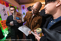 Deus Ex Machina Harajuku store party before the 2017 Mooneyes Show. Tokyo, Japan. Friday December 1, 2017. Photography ©2017 Michael Lichter.