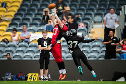 East Kilbride Pirates wide receiver catches a long pass - Mandatory by-line: Jason Brown/JMP - 27/08/2016 - AMERICAN FOOTBALL - Sixways Stadium - Worcester, England - Kent Exiles v East Kilbride Pirates - BAFA Britbowl Finals Day