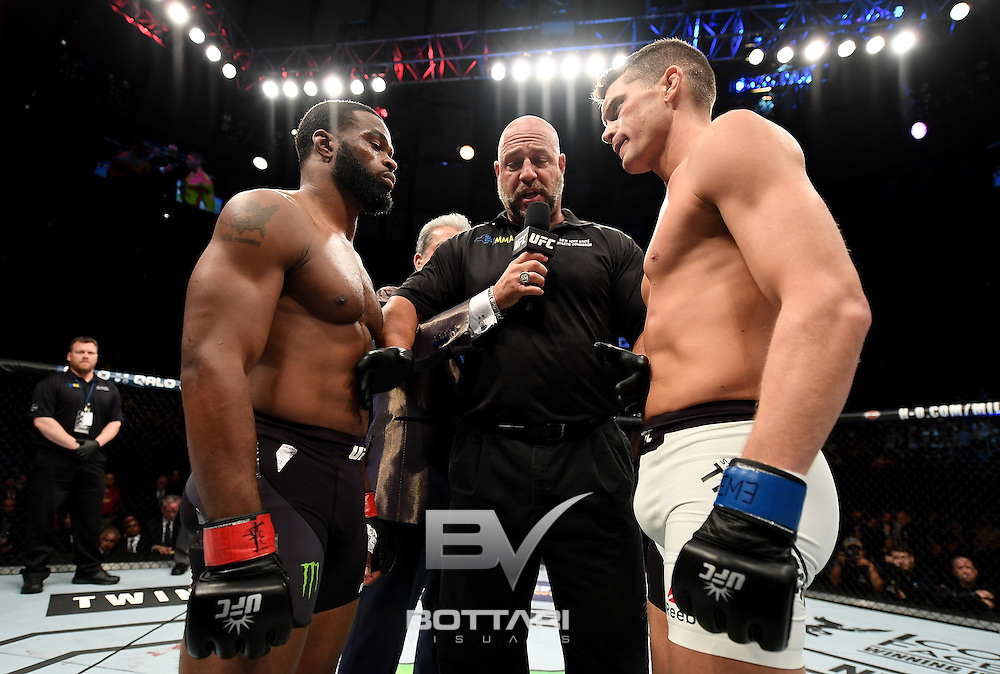 NEW YORK, NY - NOVEMBER 12:  Tyrone Wodley (left) of the United States meets in the center of the octagon before fighting against Stephen Thompson of the United States in their welterweight championship bout during the UFC 205 event at Madison Square Garden on November 12, 2016 in New York City.  (Photo by Jeff Bottari/Zuffa LLC/Zuffa LLC via Getty Images)