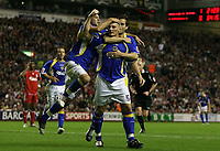 Photo: Paul Thomas.<br /> Liverpool v Cardiff City. Carling Cup. 31/10/2007.<br /> <br /> Darren Purse (C) and Cardiff celebrate his goal.