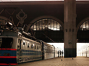 Railway staff at the Belorusskaya Station, Moscow, Russia