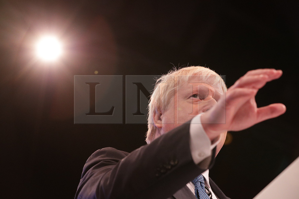 © Licensed to London News Pictures . 03/10/2017. Manchester, UK. Foreign Secretary BORIS JOHNSON delivers his speech on day three of the Conservative Party Conference at the Manchester Central Convention Centre . Photo credit: Joel Goodman/LNP