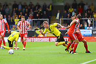 Burton Albion midfielder David Templeton (11) gets past the Sunderland players but is fouled during the EFL Sky Bet League 1 match between Burton Albion and Sunderland at the Pirelli Stadium, Burton upon Trent, England on 15 September 2018.